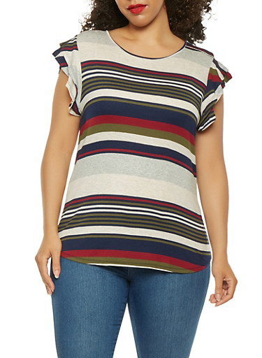 Plus Size Striped Tiered Sleeve Tee,BLUE,large