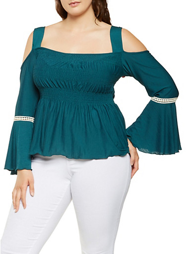 Plus Size Smocked Cold Shoulder Top,TEAL,large