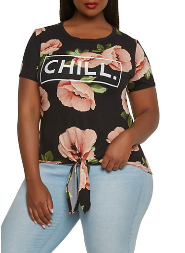 Plus Size Floral Graphic Tee | Tuggl