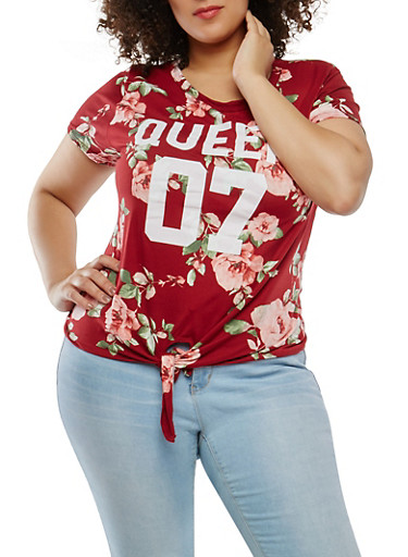 Plus Size Graphic Floral Tie Front Top,BURGUNDY,large