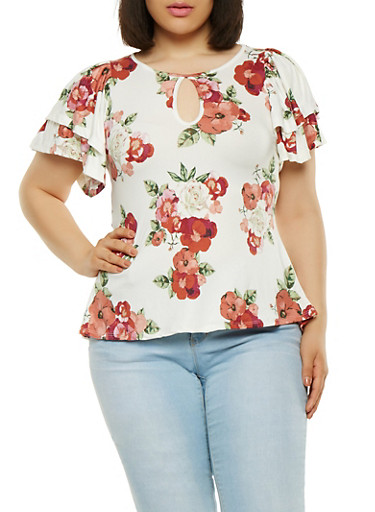 Plus Size Floral High Low Top,IVORY,large