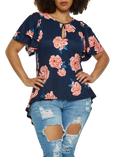 Plus Size Floral High Low Top,NAVY,large