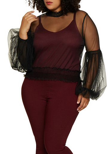 Plus Size Bell Sleeve Mesh Top,BLACK,large