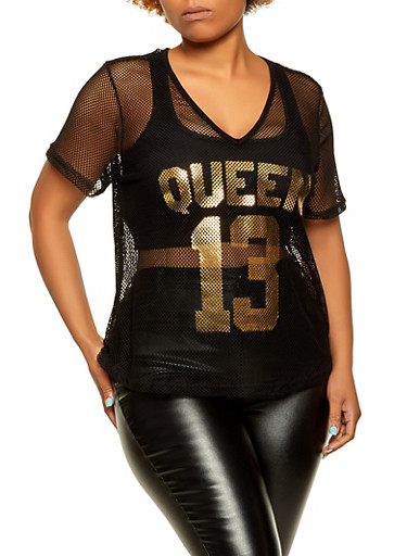 Plus Size Queen Fishnet Tee,BLACK,large