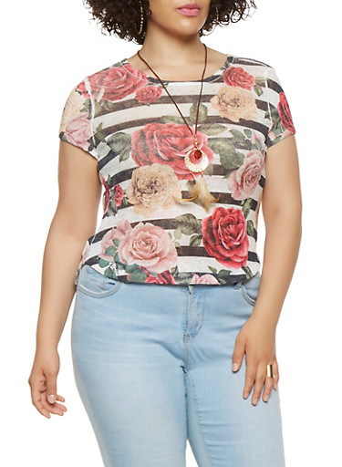 Plus Size Striped Floral Tee with Necklace,IVORY,large