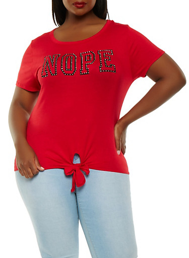 Plus Size Nope Graphic Tee,RED,large