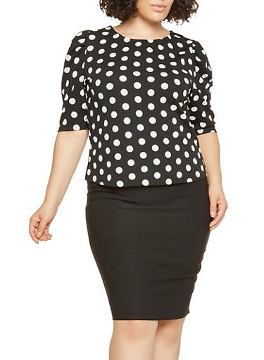 Plus Size Polka Dot Blouse,BLACK/WHITE,large