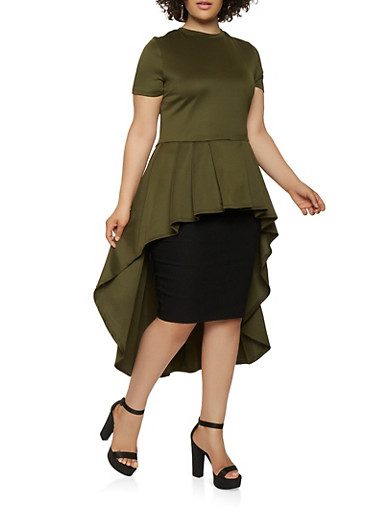 Plus Size Pleated High Low Top,OLIVE,large