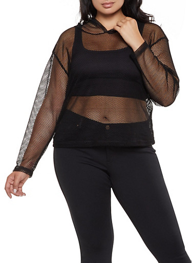 Plus Size Hooded Fishnet Top,BLACK,large