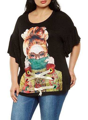Plus Size Lace Up Graphic Tunic Top,BLACK,large
