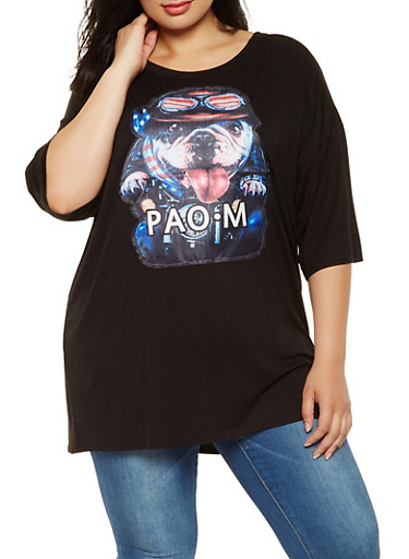 Plus Size Dog Graphic Tunic Tee,BLACK,large