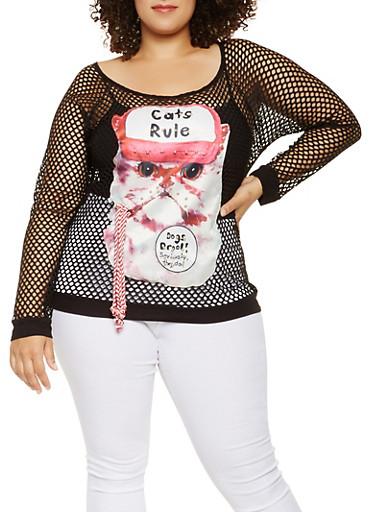 Plus Size Cat Graphic Fishnet Top,BLACK,large