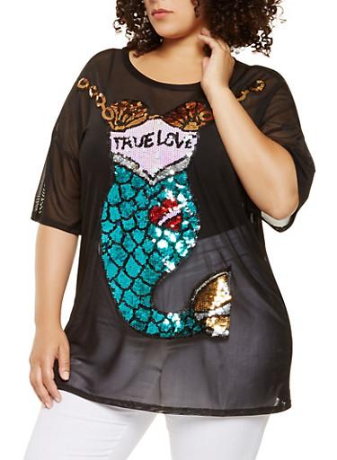 Plus Size Sequin Mermaid Mesh Tunic Top,BLACK,large