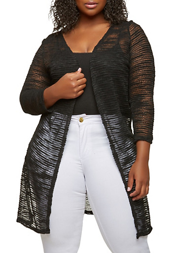 Plus Size Duster,BLACK,large