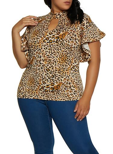 Plus Size Leopard Keyhole Top,BROWN,large