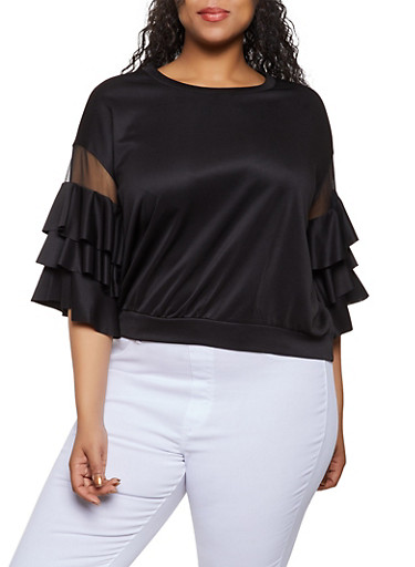 Plus Size Mesh Insert Tiered Sleeve Top,BLACK,large