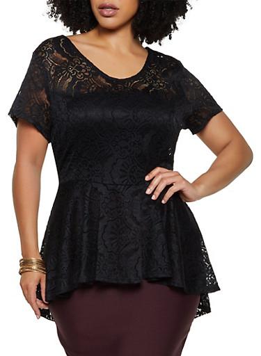 Plus Size Lace High Low Peplum Top,BLACK,large