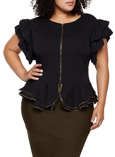 Plus Size Textured Knit Zip Front Top,BLACK,large