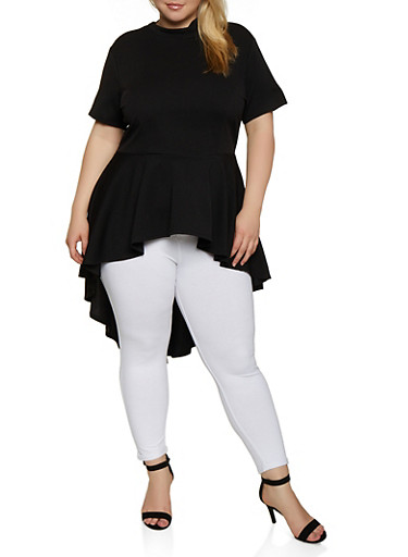 Plus Size High Low Textured Knit Top,BLACK,large