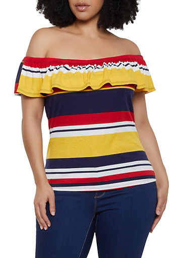 Plus Size Ruffled Striped Off the Shoulder Top,NAVY,large