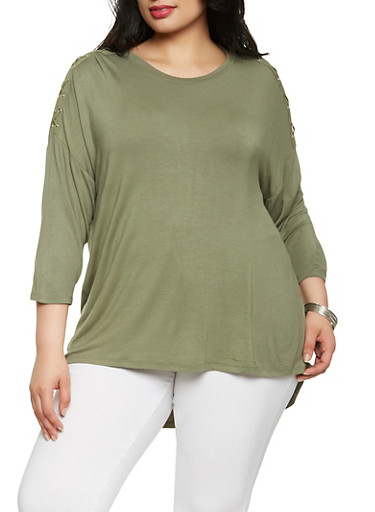Plus Size Lace Up Sleeve Top,OLIVE,large