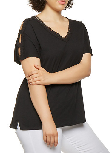 Plus Size Crochet Trim Caged Sleeve Top,BLACK,large