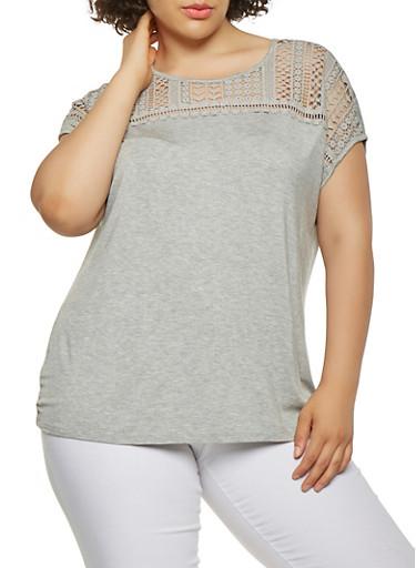 Plus Size Crochet Yoke Top,GRAY,large