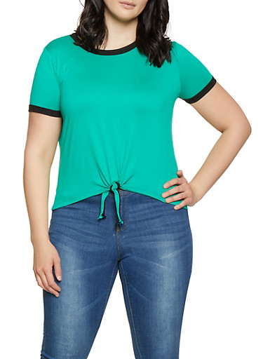 Plus Size Contrast Trim Soft Knit Tee,GREEN,large