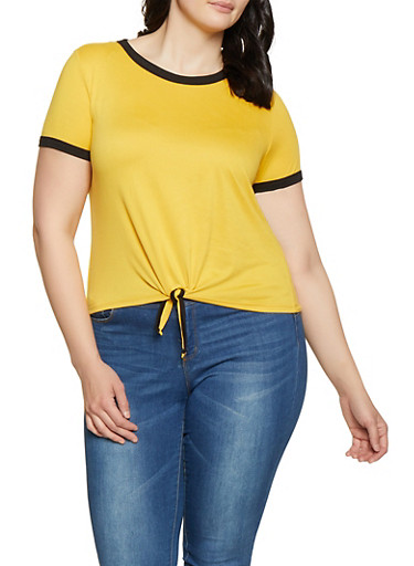 Plus Size Tie Front Contrast Trim Tee,MUSTARD,large