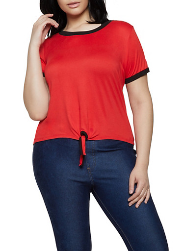 Plus Size Contrast Trim Soft Knit Tee | 0915001441844,RED,large