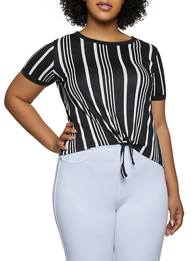 Plus Size Tie Front Striped Tee,BLACK/WHITE,large