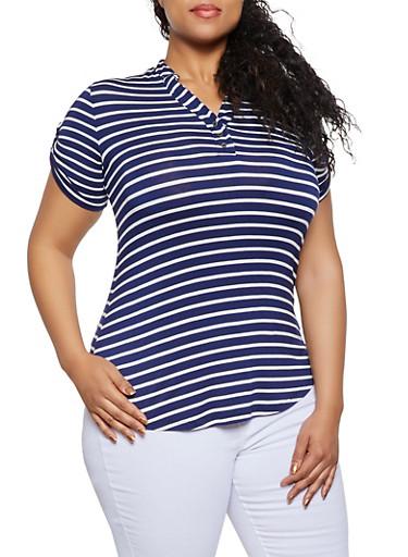 Plus Size Mandarin Collar Striped Tee,NAVY,large