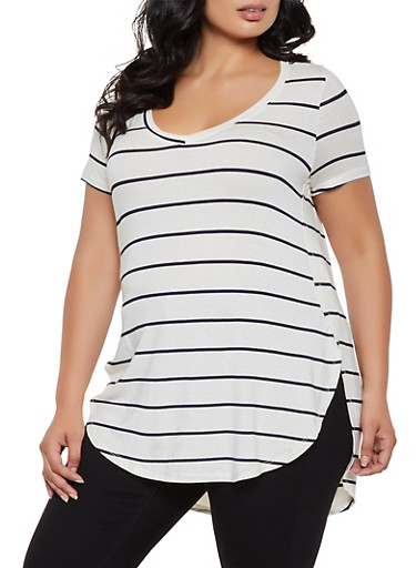 Plus Size Striped Top | 0915001448856,IVORY,large