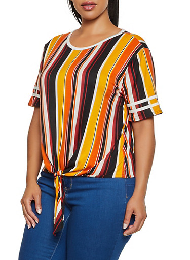 Plus Size Striped Tie Front Soft Knit Tee,YELLOW,large