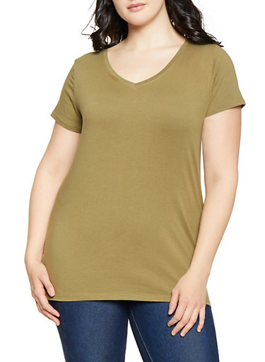 Plus Size V Neck Tee,OLIVE,large