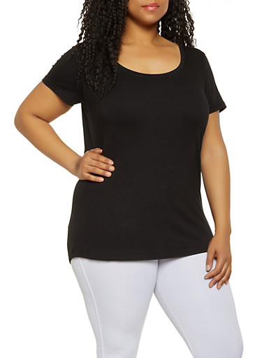 Plus Size Scoop Neck Tee,BLACK,large