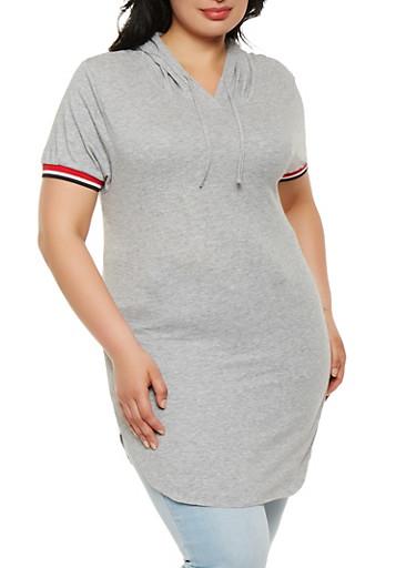 Plus Size Basic Hooded Tunic Tee,HEATHER,large
