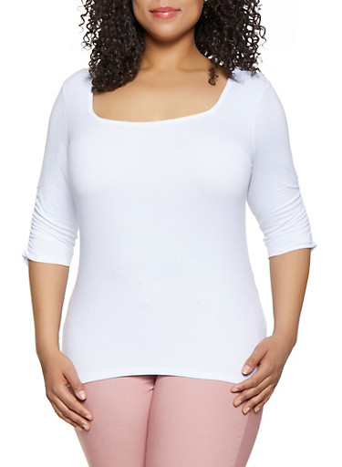 Plus Size Ruched Sleeve Square Neck Tee,WHITE,large