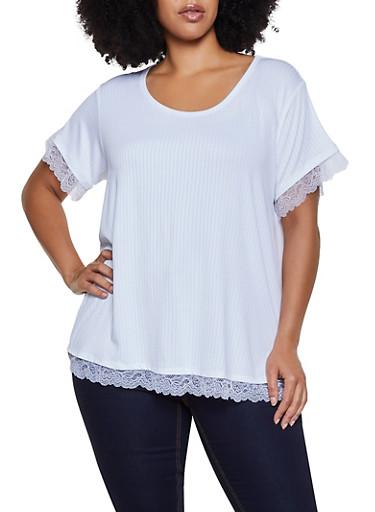 Plus Size Rib Knit Lace Trim Top,WHITE,large