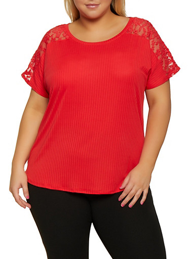 Plus Size Lace Yolk Top,RED,large