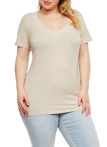 Plus Size Basic Wide V Neck T Shirt,OATMEAL,large
