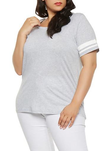Plus Size Varsity Stripe Sleeve Tee,HEATHER,large