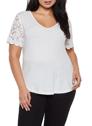 Plus Size Lace Sleeve Top,WHITE,large