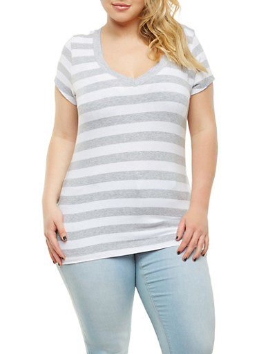 Plus Size Striped V Neck Tee,HEATHER,large