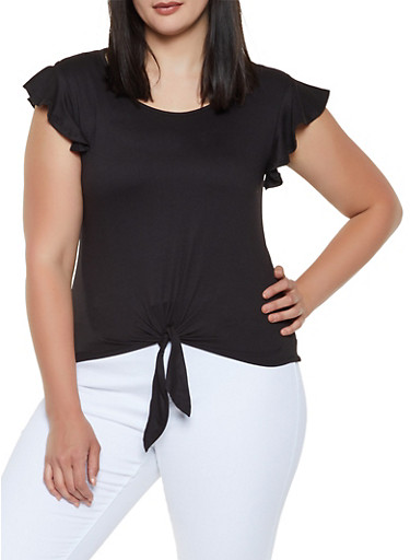 Plus Size Flutter Sleeve Tie Front Top,BLACK,large