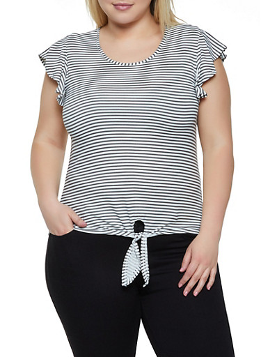 Plus Size Striped Flutter Sleeve Tee,WHITE,large