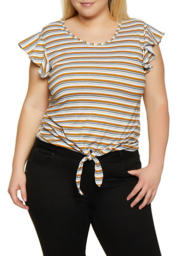 Plus Size Striped Cap Sleeve Tee,MUSTARD,large