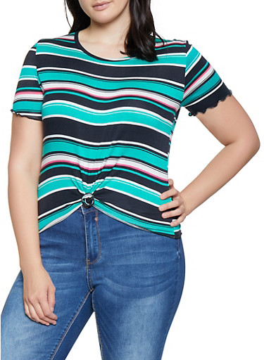 Plus Size Striped Lettuce Edge Tee,JADE,large