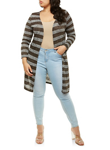 Plus Size Striped Shimmer Knit Duster,GRAY,large