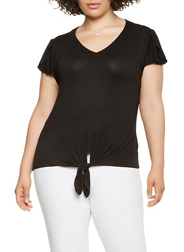 Plus Size Solid Tie Front Tee,BLACK,large